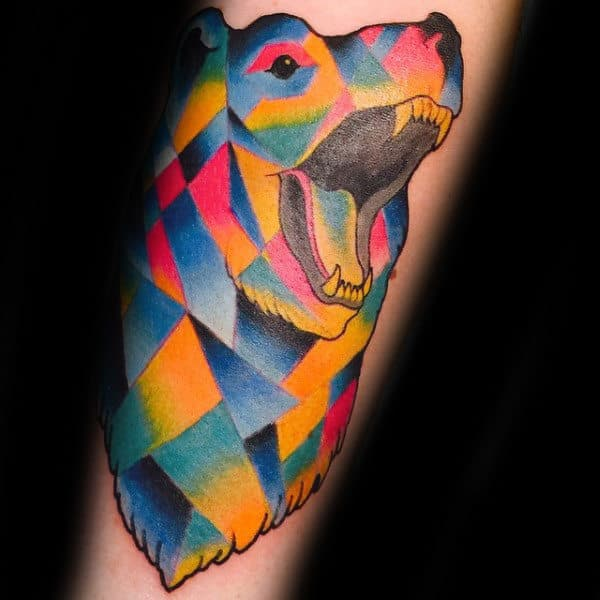 Mens Colorful Geometric Bear Tattoo Design On Forearm