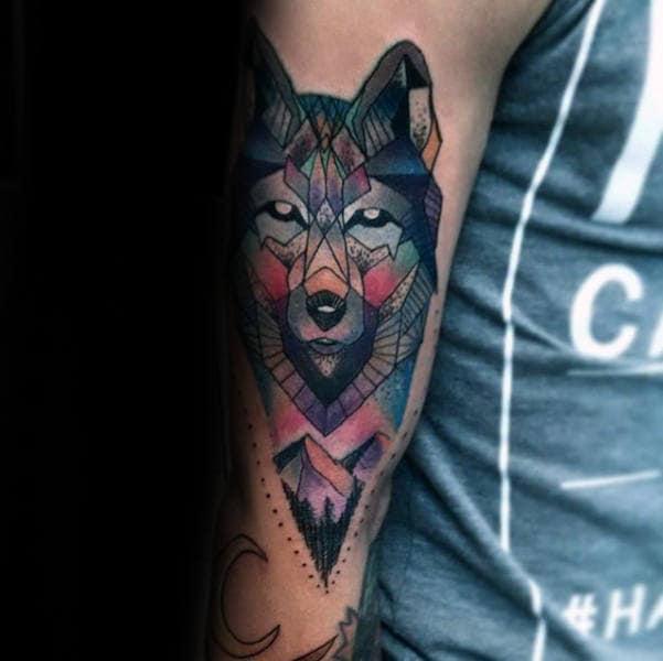 Mens Colorful Geometric Wolf Arm Tattoos