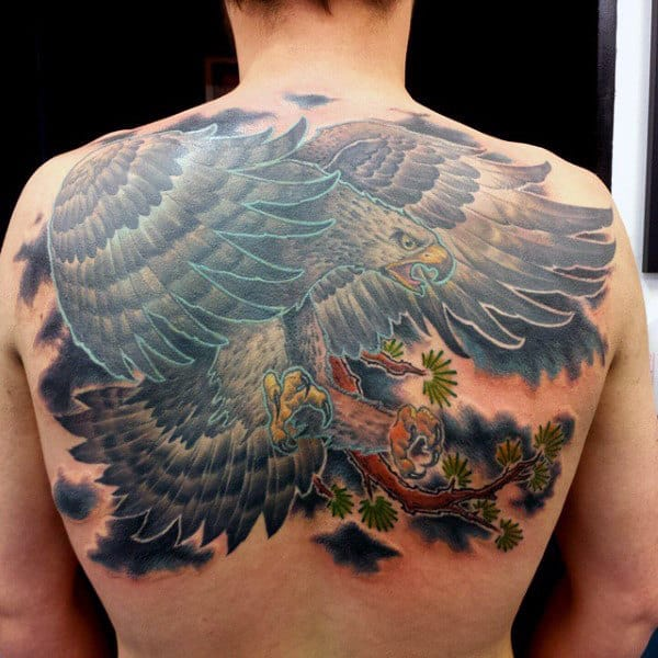 Mens Colorful Hawk Flying From Tree Branch Tattoo On Back
