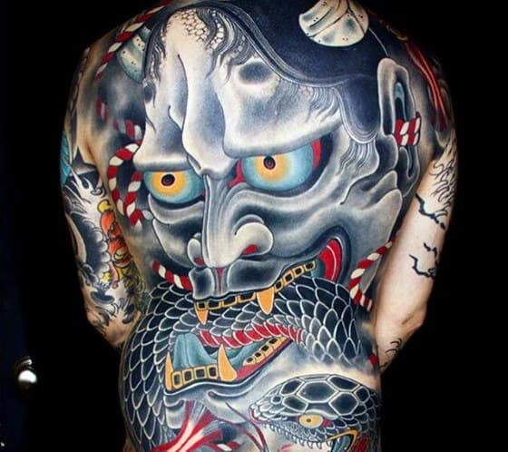 Mens Colorful Japanese Demon Mask With Snake Back Tattoos