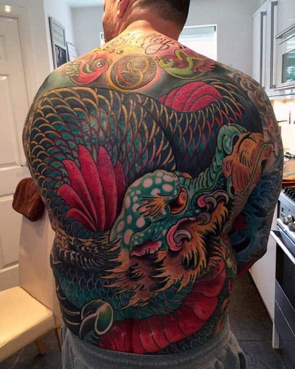 Mens Colorful Japanese Dragon Back Tattoo