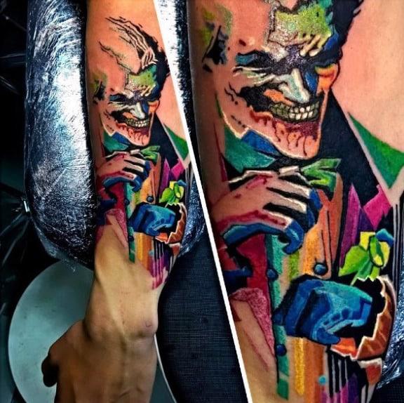 Mens Colorful Joker Watercolor Forearm Tattoos