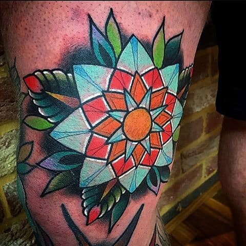 Mens Colorful Knee Floral Tattoo Design Inspiration