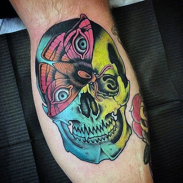 Mens Colorful Leg Calf Tattoo With Badass Skull Design