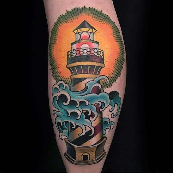 Mens Colorful Lighthouse With Ocean Wave Leg Tattoo