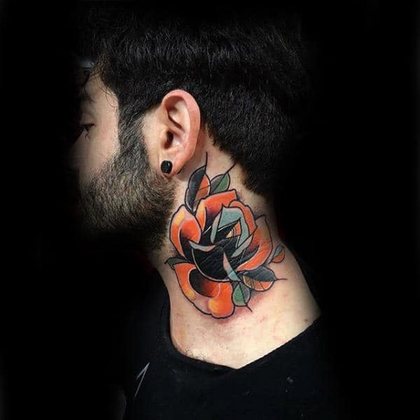 Mens Colorful Old School Amazing Amazing Neck Tattoos