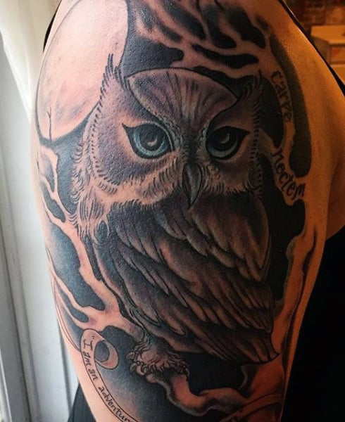 Men's Colorful Owl Tattoos
