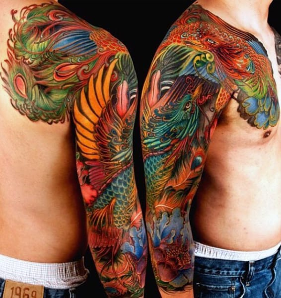 Mens Colorful Peacock Full Sleeve Tattoos