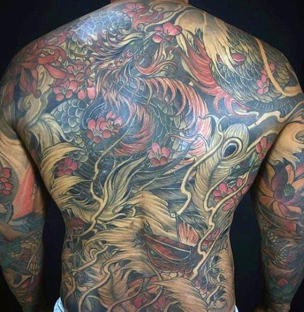 Mens Colorful Phoenix Back Tattoo Designs