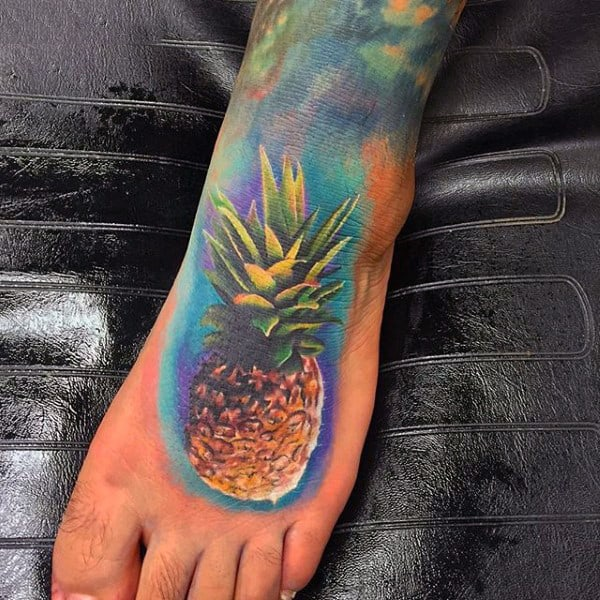 Mens Colorful Pineapple Tattoo On Foot