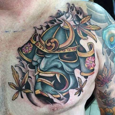 Mens Colorful Samurai Mask Chest Piece Tattoo