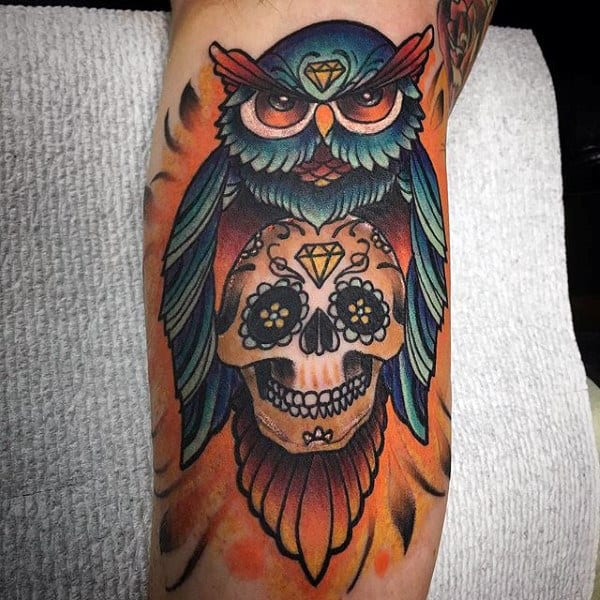 Mens Colorful Sugar Skull With Owl Tattoo On Bicep Of Arm