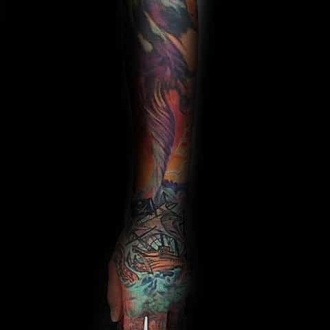 Mens Colorful Tornado Full Sleeve Tattoo