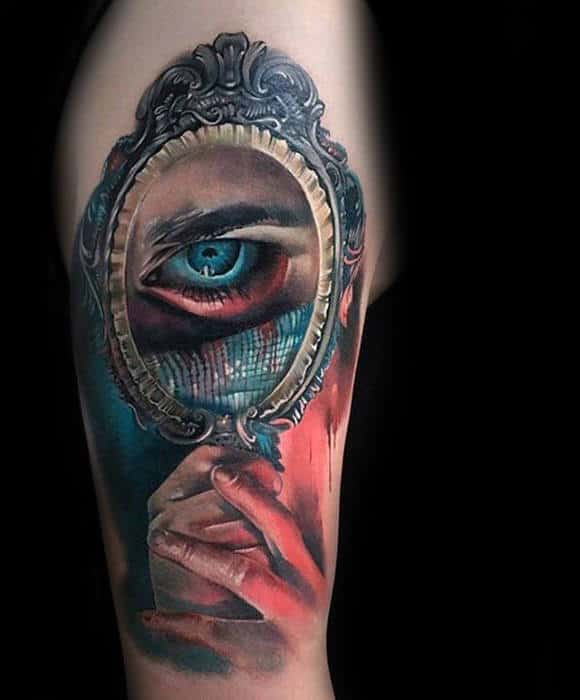 Mens Colorful Unusual Hands Holding Mirror With Eye Tattoo On Arm