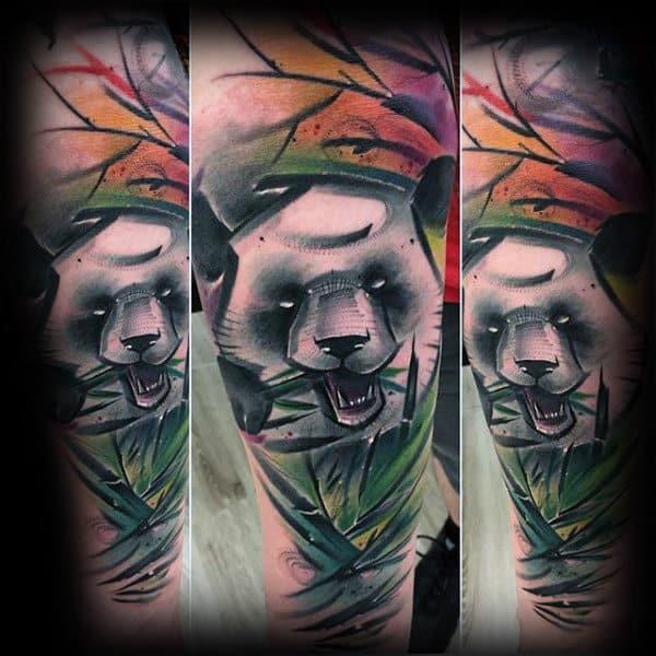 Mens Colorful Watercolor Panda Bear Leg Tattoos