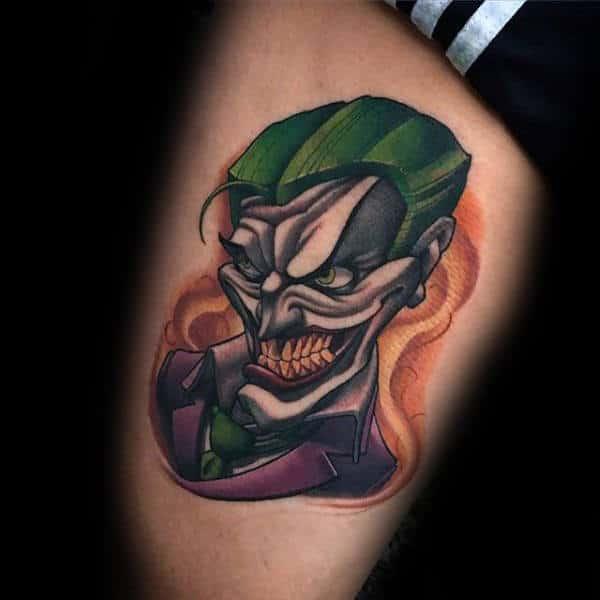 Mens Comic Style Joker Thigh Tattoos