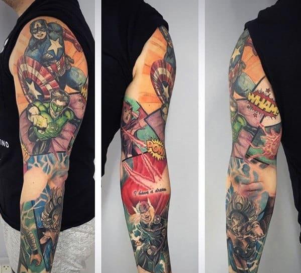 Mens Comic Themed Superhero Marvel Sleeve Tattoo Ideas