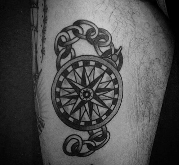 Mens Compass Thigh Traditional Black And Grey Ink Tattoo Designs