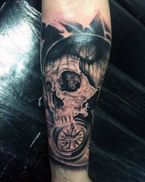 Men's Compassion Tattoos With Skull