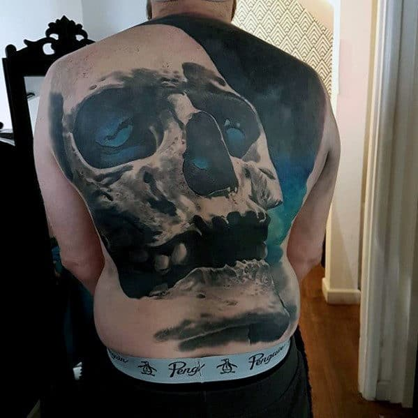 Mens Cool 3d Blue Skull Full Back Tattoos