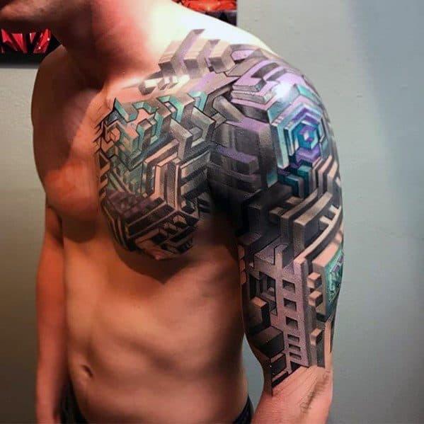 Mens Cool 3d Geometric Sleeve Tattoo Ideas