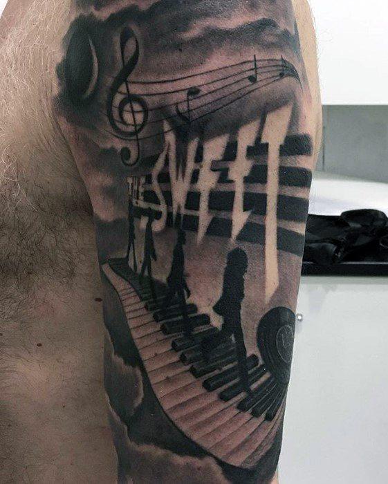 Mens Cool 3d Half Sleeve Beatles Tattoo Ideas