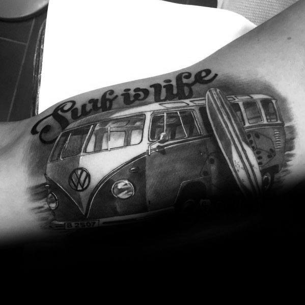 Mens Cool 3d Volkswagen Wv Tattoo Ideas On Inner Arm Bicep