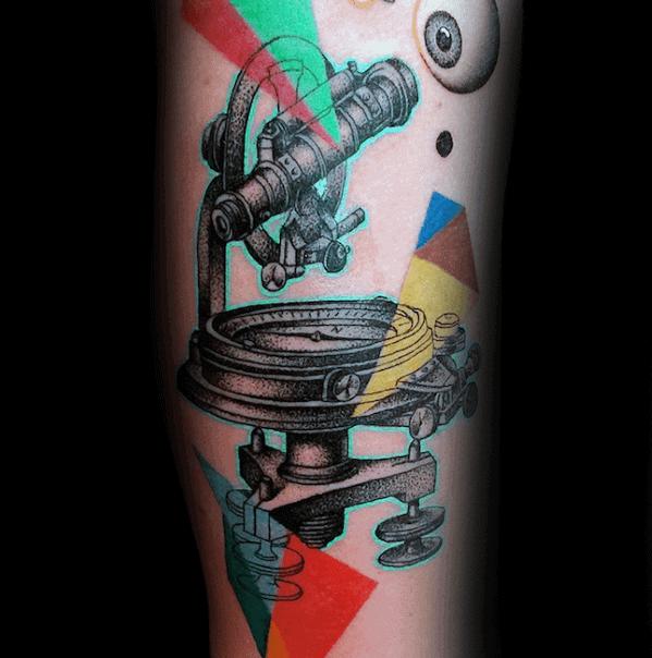 Mens Cool Abstract Geometric Telescope Tattoo Ideas On Forearm