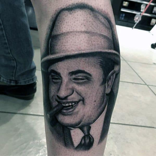 Mens Cool Al Capone Tattoo Ideas On Side Of Leg