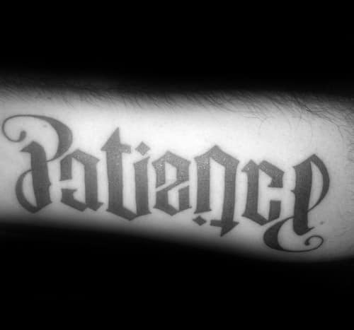 Mens Cool Ambigrampatience Tattoo Ideas