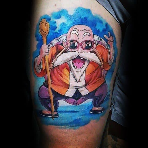 Mens Cool Anime Tattoo Design Inspiration Thigh