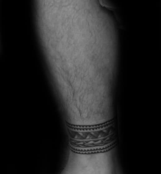 Mens Cool Ankle Band Tribal Tattoo Design Inspiration