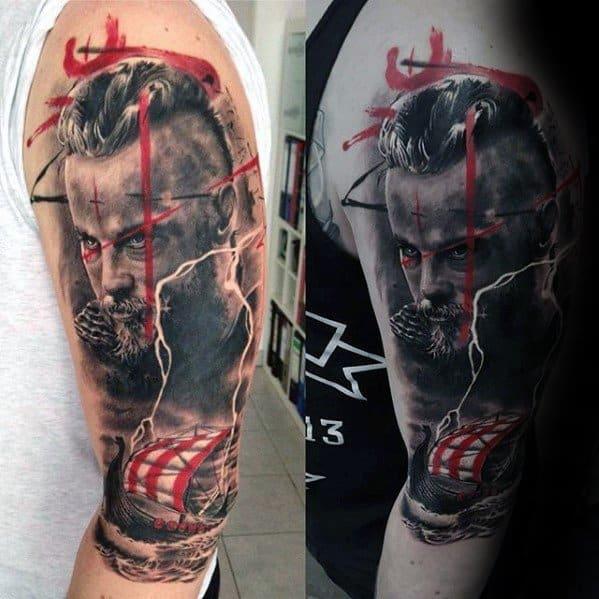 Mens Cool Arm Ragnar Tattoo Design Inspiration