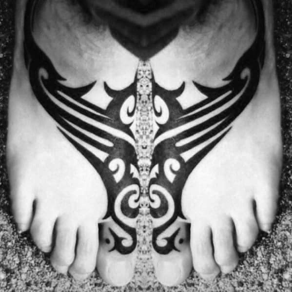 Mens Cool Awesome Tribal Tattoo Design Inspiration On Feet