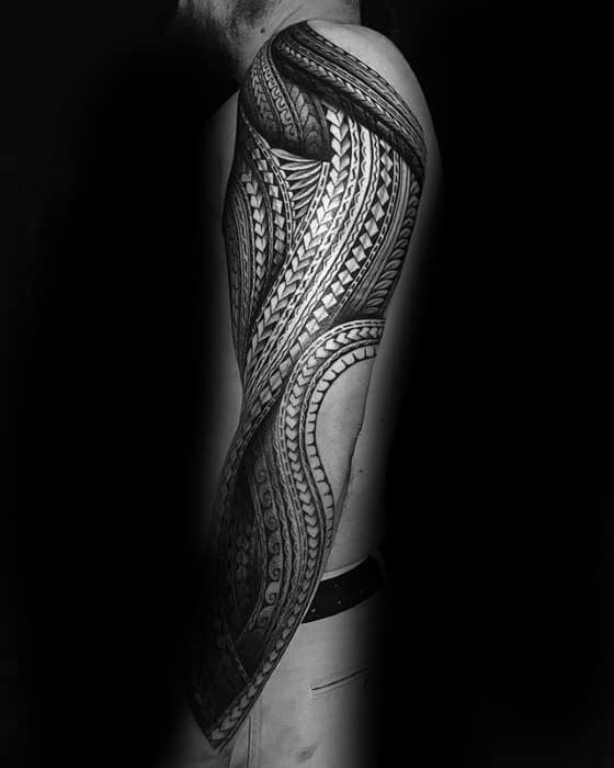 Mens Cool Awesome Tribal Tattoo Ideas Full Polynesian Arm Sleeve