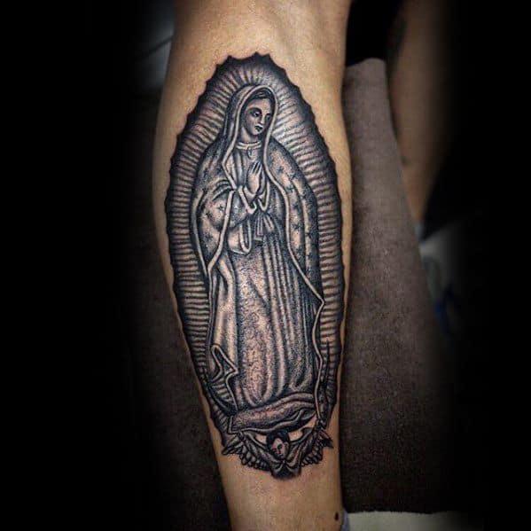 Mens Cool Back Of Leg Calf Guadalupe Tattoo Ideas