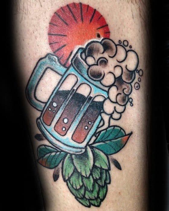 Mens Cool Beer Tattoo Design Inspiration