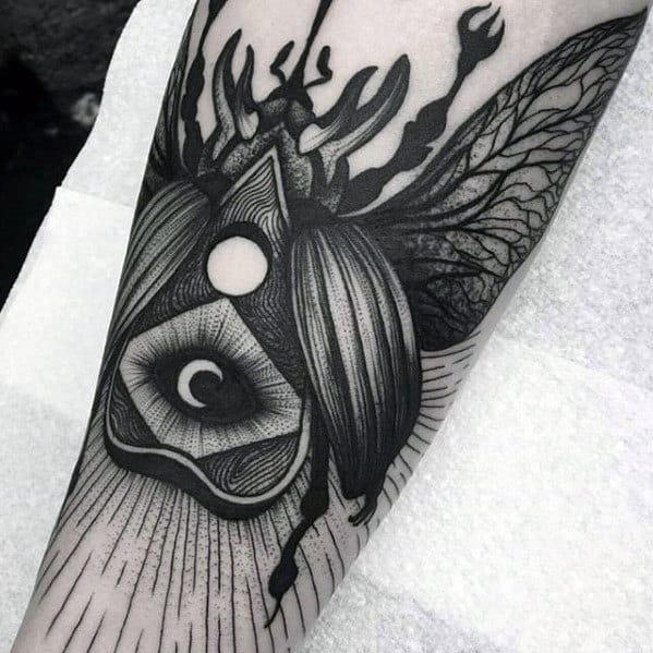 Mens Cool Beetle Themed Planchette Tattoo Ideas On Forearm