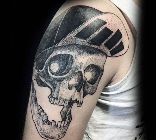 Mens Cool Black Flag Skull Arm Tattoo Ideas