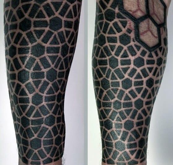 Mens Cool Black Ink Geometric Leg Tattoo Ideas