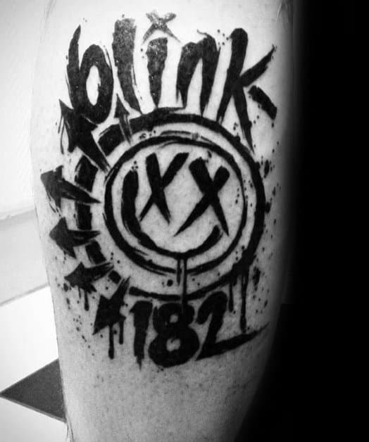 Mens Cool Blink 182 Tattoo Ideas On Leg