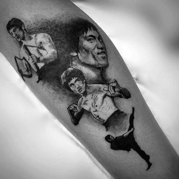 Mens Cool Bruce Lee Themed Inner Forearm Tattoo Ideas
