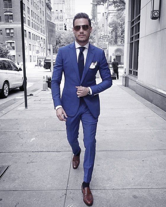 Mens Cool Business Professional Modern Navy Blue Suit Brown Shoes Ideas