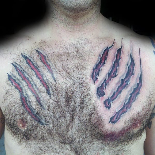 Mens Cool Chest Bear Claw Tattoos