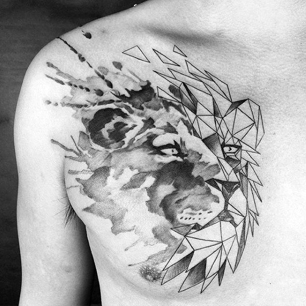 Mens Cool Chest Watercolor Geometric Lion Tattoo Ideas