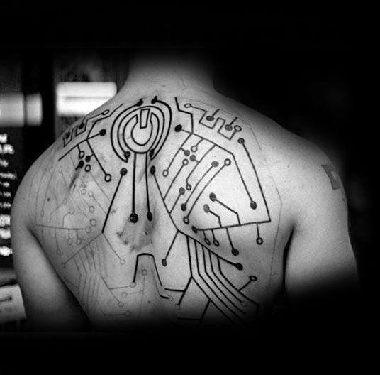 Circuit Board Tattoo Designs: 20 Power Symbol Tattoo Designs For Men