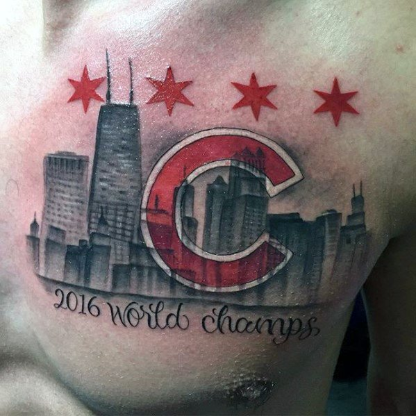 Mens Cool City Skyline Chicago Cubs Upper Chest Tattoo Ideas