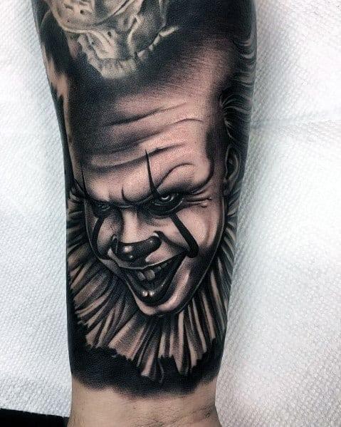 Mens Cool Clown Horror Movie Tattoos