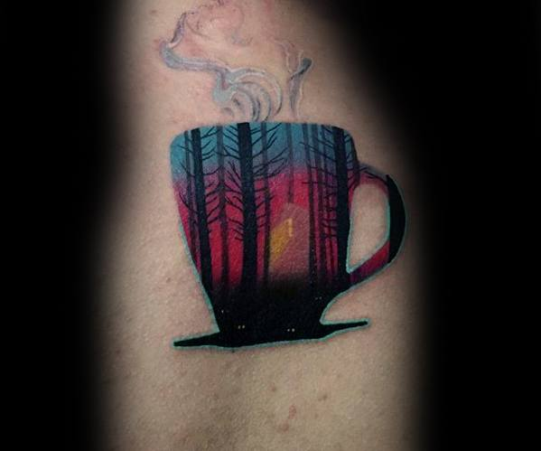 Mens Cool Coffee Cup Wood Tree Forest Colorful Upper Arm Tattoo Ideas