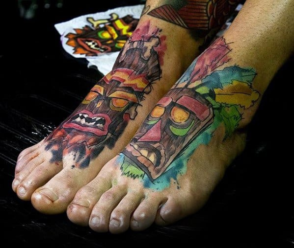 Mens Cool Crash Bandicoot Tattoo Ideas On Feet